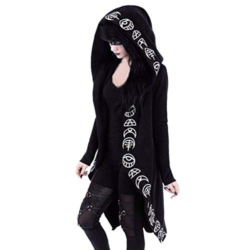 Cardigan Jacket Coat Women Hooded Coat Long Sleeve Punk Moon Print Black Cloak Tops Plus Size Black