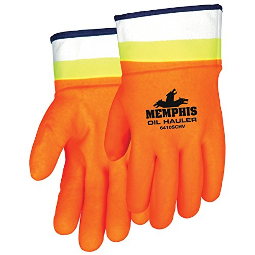 - MCR Safety 6410SCHV Premium Double-Dipped Hi-Viz PVC Jersey Lined Sandpaper Finish Men's Gloves with Plasticized Safety Cuff, Orange/Lime, Large, 1-Pair
