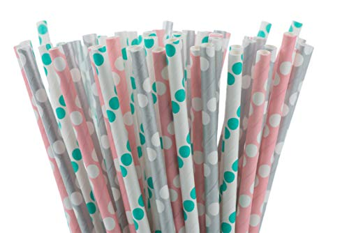 (LuvLiz Biodegradable Paper Straws, Straws for Party Supplies, Birthday, Wedding, Bridal/Baby Shower Decorations and Holiday Celebration. Let's Keep Our Ocean Clean! (Pink Green Gray Polka Dots, 200))