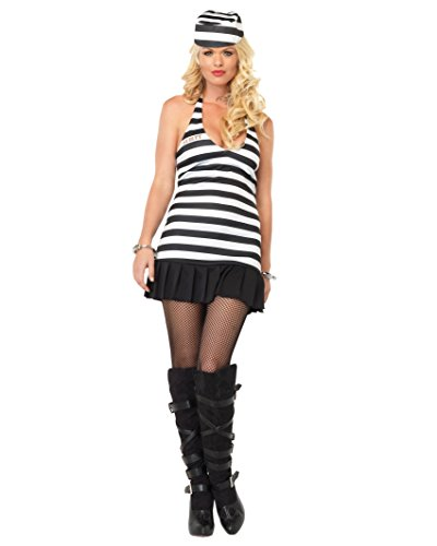 [Sexy Jail Girl Guilty Convict Costume Prisoner Black White Striped Halter Dress Sizes: Medium-Large] (Kids Convict Costume Ideas)
