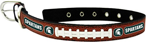 GameWear CFB Michigan State Spartans Classic Leather Football Collar, Small, Black