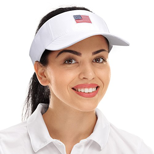 7a5ed7ed774 American Flag Sun Visor Adjustable Cap Patriotic Sports Tennis Golf ...