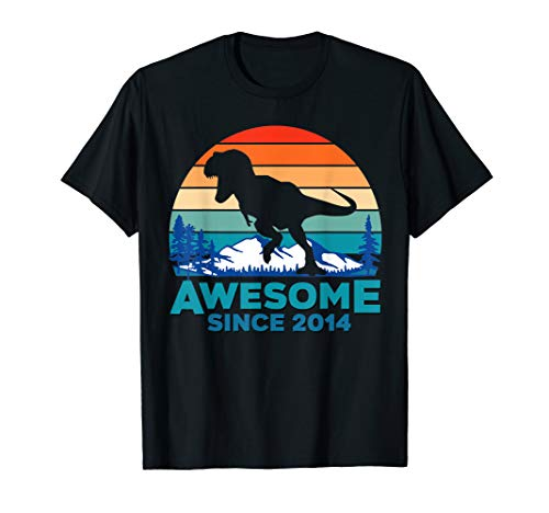 Awesome Since 2014 T-Shirt 5 Years Old Dinosaur ()