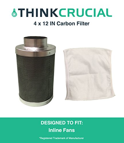 "4x12"" Carbon Inline Fan Filter & Odor Control, Part # GLFILT4M Perfect for Odor Elimination in Grow Rooms Cigarette Smoke Pet Dander Trash Plant Emissions & More, by Think Crucial"
