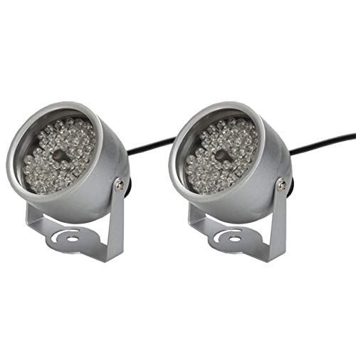 (4Pcs 48 LED Illuminator Light CCTV IR Infrared Night Vision Outdoor Metal Waterproof for Surveillance Camera CCTV Camera 2pcs)