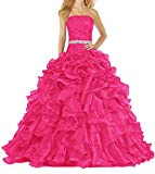 ANTS Women's Pretty Ball Gown Quinceanera Dress Ruffle Prom Dresses Size 12 US Hot Pink
