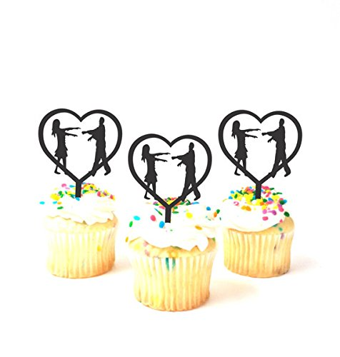 Set of 12 Lover Zombie Cupcake Toppers Set of 12 Halloween Cupcake Toppers Zombie Apocalypse Cupcake Silhouette Zombies Cupcake Toppers Zombie Party