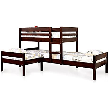 HOMES Inside Out IoHOMES Kalan Transitional 3 Tier Bunk Bed Twin Espresso