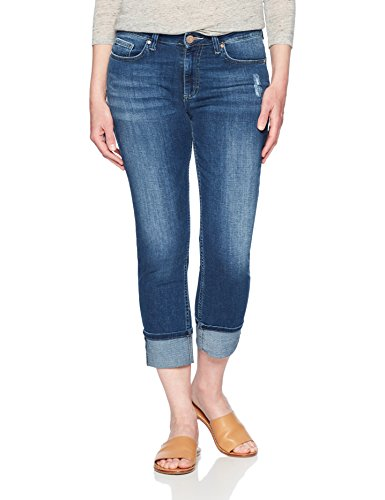 Riders by Lee Indigo Women's Modern Collection Roll Cuff Straight Leg Denim Cropped Jean, mid wash, 14 AVG