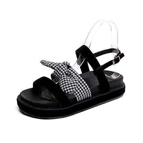 @Sandals Neue Antike, Flacher Boden, Koreanische Version, Muffins, Damen Freizeitschuhe.  35|black