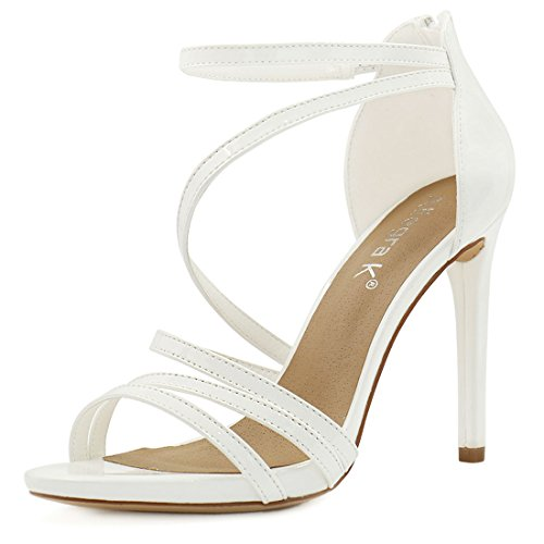 Allegra K Mujer Open Toe Stiletto tacón alto Strappy Sandalias Blanco