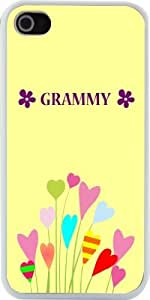 Rikki KnightTM Grammy Name Buttercup Flower Design iPhone 4 & 4s Case Cover (White Rubber with bumper protection) for Apple iPhone 4 & 4s