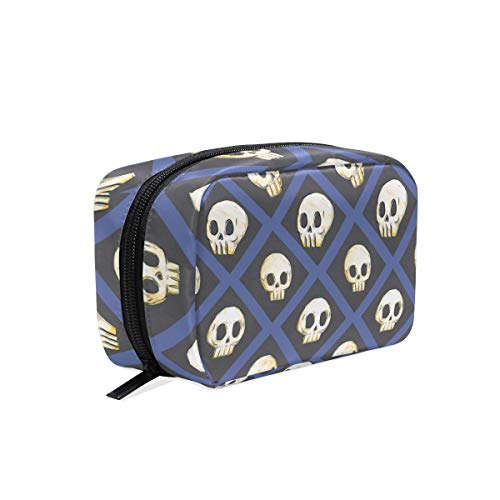 (Halloween Skulls Cosmetic Bags Organizer- Travel Makeup Pouch Ladies Toiletry Case for Women Girls, CoTime Black)