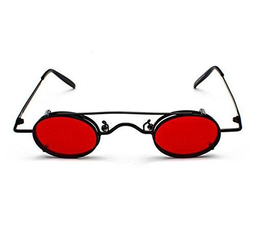 gafas Rojo estilo hippie mujeres extraíbles hombres de sol ovales Retro y Negro punky polarizado vintage UV400 no wUqTzxaB