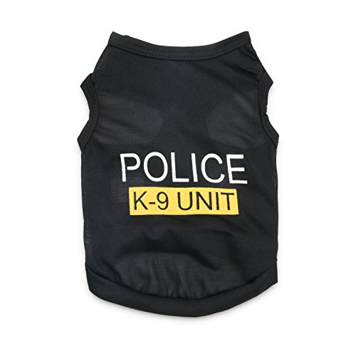 Police Dog Halloween Costume (DroolingDog Pet Police T Shirt Dog Clothes Vest for Small Dogs, Medium,)