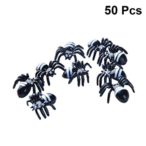 Amosfun 50PCS Plastic Spider Toy Halloween Prank Props Scary Party Supplies for Halloween April Fools' Day Photo Props Outdoor Yard Haunted House Decor -