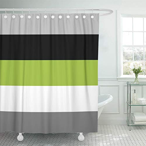 Semtomn Shower Curtain Grey Color Block Lime Green Gray Black and Stripes 66