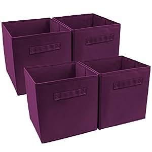 Sorbus® Foldable Storage Cube Basket Bin (4 Pack, Purple)