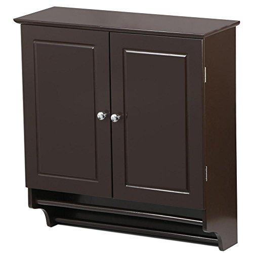 Go2buy Wall Mounted Cabinet Kitchen Bathroom Wooden Medicine Hanging Storage Organizer Espresso
