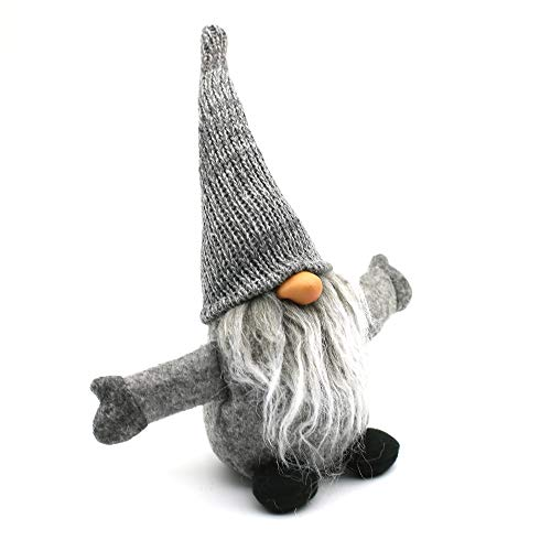 ITOMTE Handmade Swedish Gnome, Scandinavian Tomte, Yule Santa Nisse, Nordic Figurine, Plush Elf Toy, Home Decor, Winter Table Ornament, Christmas Decorations, Holiday Presents - 10 Inches, Grey (Gnome Bead)
