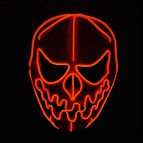 Price comparison product image Wire LED Mask Halloween Frightening Cosplay Pumpkin Luminous Glowing Cool Light up Mask for Festival Parties