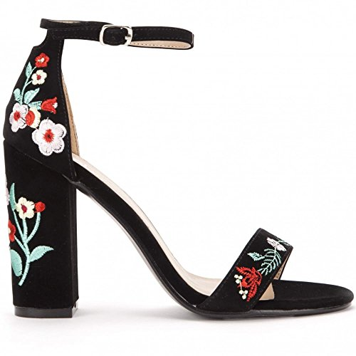 Shoe Closet Ladies Black Embroidered Flower Strappy Sandals Peep Toes High Heels Black zNepuH