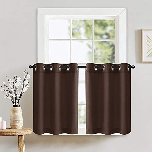 Lazzzy Window Tiers Curtains for Bedroom Casual Weave Textured Kitchen Semi Sheer Window Curtain Panels Cafe Curtains Eyelet 1 Pair 36 inch Brown