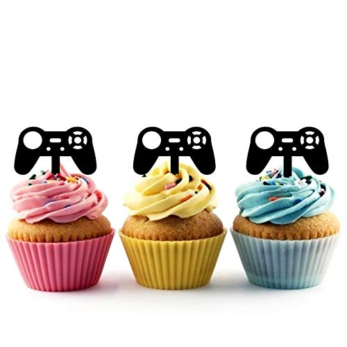 TA0849 Gamepad Video Game Controller Joystick Silhouette Party Wedding Birthday Acrylic Cupcake Toppers Decor 10 pcs by jjphonecase