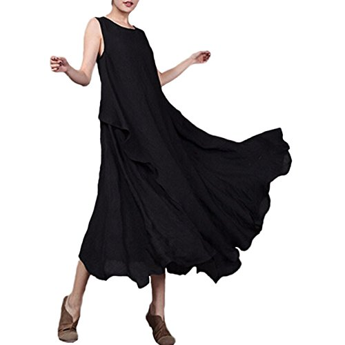 Romacci Women Linen Vintage Maxi Sleeveless Loose Swing Tank Tunic Dress Long Beach Party Dresses Black