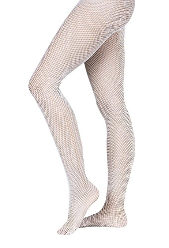 Grandeur Hosiery Girls' Kids Children's Seamless Fishnet Dance Ballet Tights Pantyhose Stockings White 7-10 - Girls White Fishnet