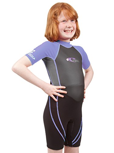 Lilac Hybrid (O'Neill Reactor Hybrid kids shorty wetsuit 8 Black/smoke/lilac)