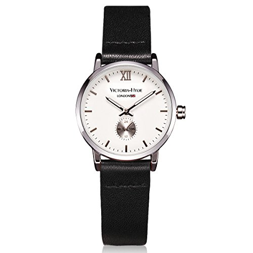 VICTORIA HYDE Small Lady Quartz Watches Classic Women Wrist Watch Round Leather Strap Black (Victoria Black Leather)