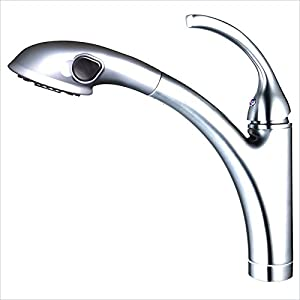 Yosemite Home Decor YP77KPOPC-REV1 Single Handle Pull-Out Kitchen Faucet with Pull-Out Spout Sprayer, Small, Polished Chrome