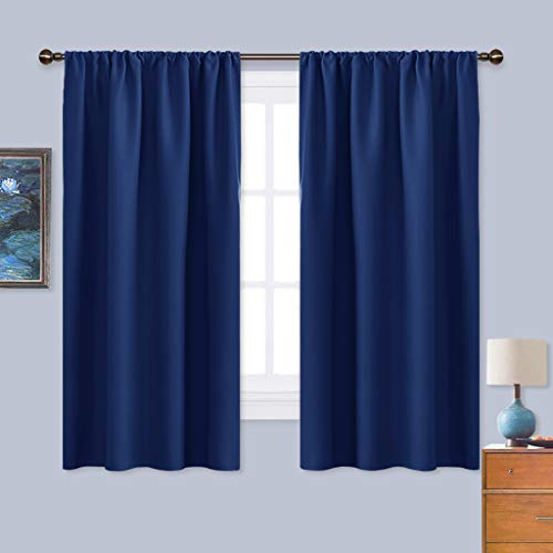 NICETOWN Bedroom Curtains Blackout Draperies - All Season Thermal Insulated Solid Rod Pocket Top Blackout Curtains/Drapes for Kid's Room (Navy Blue