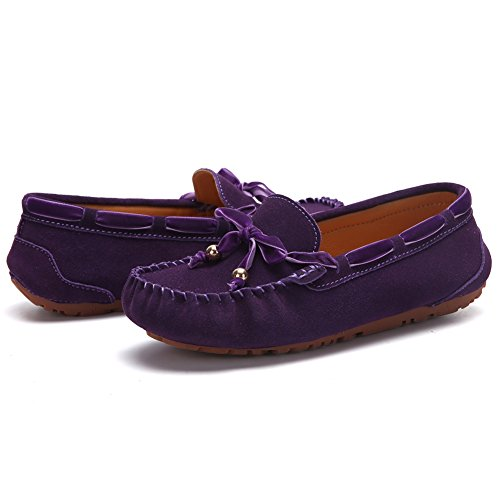 Flat On Loafers Driving Lace up Slip Women's Purple UNN Shoes x6CqFwYw