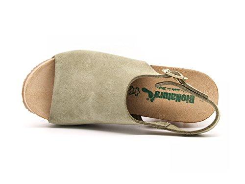 Bionatura - Sandalias de vestir de ante para mujer verde Verde