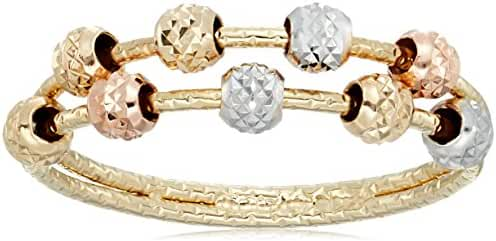 10k Tri Colored Gold Diamond Cut Double Beaded Band Ring, Size 6