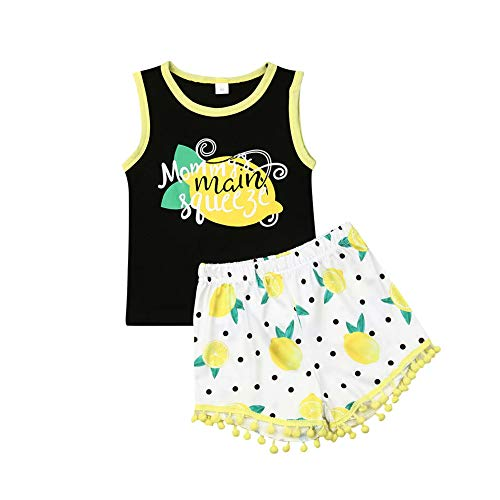 Young U Toddler Girl Summer Clothes Letter Print Vest Tops Tassels Shorts 2pcs Baby Girl Outfit Suit (Lemon Print, 3T / 4T) -