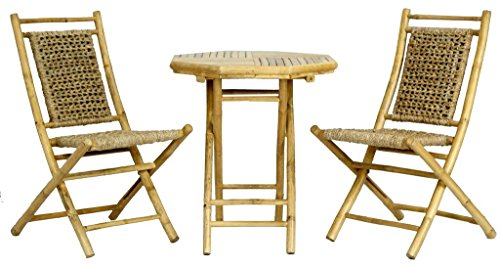 Heather Ann Creations The Maui Collection Contemporary Style Bamboo Wooden 3-Piece Table and Chairs Outdoor Patio Bistro Dining Set, Natural