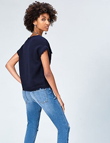 FIND Femme Navy Top Bleu Crochet au qr0xqf