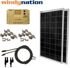 200 Watt (2pcs 100W) Solar Panel Kit 12V 24V w/ LCD Charge Controller RV, Boat by Genric