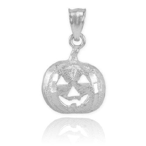 14k White Gold Jack O'Lantern Charm Halloween Pumpkin Pendant
