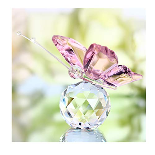 YUFENG Cute Crystal Flying Butterfly with Crystal Ball Base Figurine Collection Cut Glass Ornament Statue Animal Collectible (Pink)
