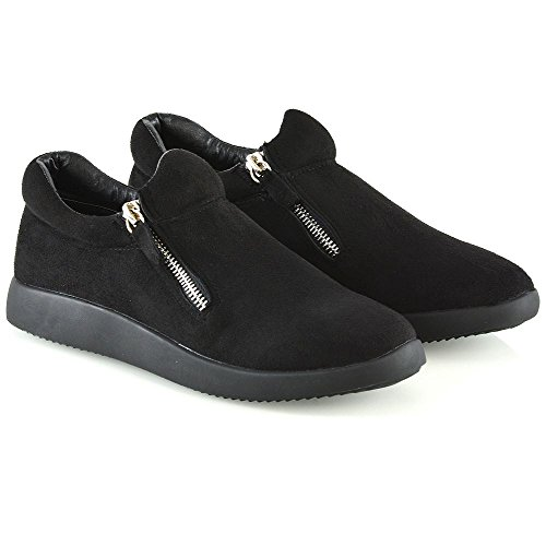 ESSEX GLAM Womens Fashion Sneakers Ladies Casual Flat Zip Trainers Shoes Black Faux Suede 6VFBiVpUy