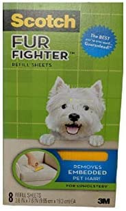 8 Sheets 3M Scotch FurFighter Dog Hair Remover Refills /_DX