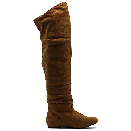 Ollio Frauen Schuh Stretch Faux Suede oder Kunstleder über die Knie flache Falten lange Stiefel Kamel-SUEDE