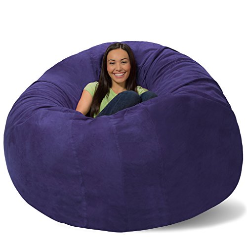 Comfy Sacks Huge Pillow Memory Foam Bean Bag Chair, Purple Micro Suede