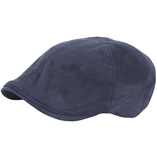 Raon N25 Simple Suede Feel Soft Ivy Cap Cabbie Newsboy Beret Gatsby Flat Driving Hat (Navy)