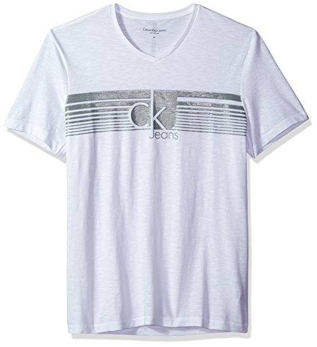 Calvin Klein Jeans Men's Lined CK Jeans V Neck Tee Shirt, White, Small Calvin Klein Ck Denim