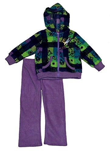 Disney Little Girls' Toddler 2 Piece Plaid Tinkerbell Polar Fleece Set, Purple - Open, 3T - Tinkerbell Fleece Pajama